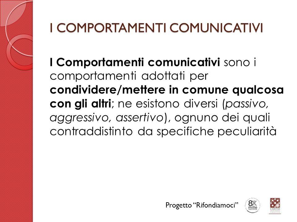 I COMPORTAMENTI COMUNICATIVI I Comportamenti comunicativi sono i comportamenti adottati per condividere/mettere in comune qualcosa con gli altri ; ne esistono diversi (passivo, aggressivo, assertivo), ognuno dei quali contraddistinto da specifiche peculiarità Progetto Rifondiamoci