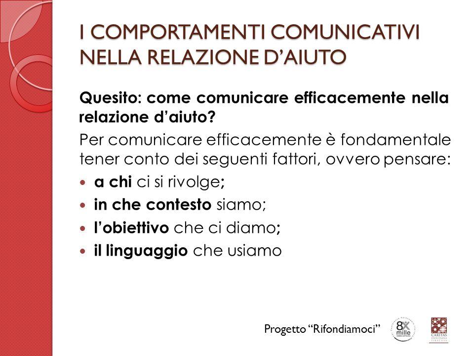 I COMPORTAMENTI COMUNICATIVI NELLA RELAZIONE D'AIUTO Quesito: come comunicare efficacemente nella relazione d'aiuto? Per comunicare efficacemente è fo