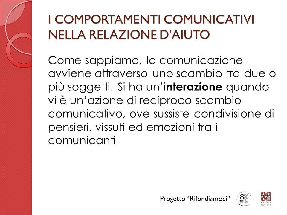I COMPORTAMENTI COMUNICATIVI NELLA RELAZIONE D'AIUTO Come sappiamo, la comunicazione avviene attraverso uno scambio tra due o più soggetti. Si ha un'i