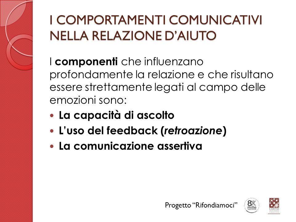 I COMPORTAMENTI COMUNICATIVI NELLA RELAZIONE D'AIUTO I componenti che influenzano profondamente la relazione e che risultano essere strettamente legati al campo delle emozioni sono: La capacità di ascolto L'uso del feedback ( retroazione ) La comunicazione assertiva Progetto Rifondiamoci
