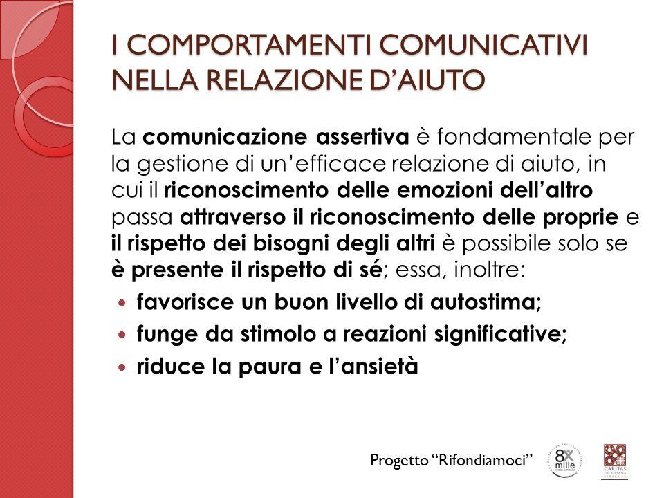 I COMPORTAMENTI COMUNICATIVI NELLA RELAZIONE D'AIUTO La comunicazione assertiva è fondamentale per la gestione di un'efficace relazione di aiuto, in c