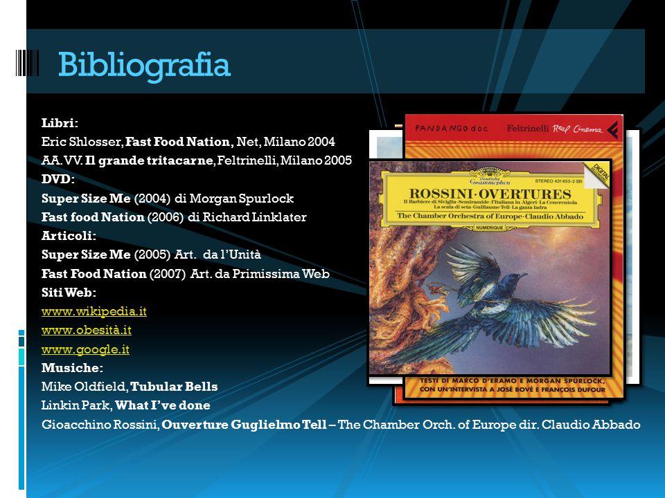 Libri: Eric Shlosser, Fast Food Nation, Net, Milano 2004 AA.VV. Il grande tritacarne, Feltrinelli, Milano 2005 DVD: Super Size Me (2004) di Morgan Spu