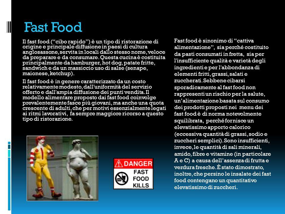 Fast Food Il fast food ( cibo rapido ) è un tipo di ristorazione di origine e principale diffusione in paesi di cultura anglosassone, servita in locali dallo stesso nome, veloce da preparare e da consumare.
