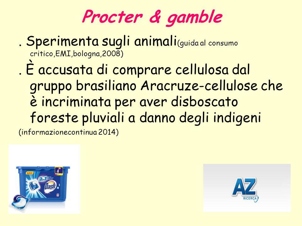 Procter & gamble. Sperimenta sugli animali (guida al consumo critico,EMI,bologna,2008). È accusata di comprare cellulosa dal gruppo brasiliano Aracruz