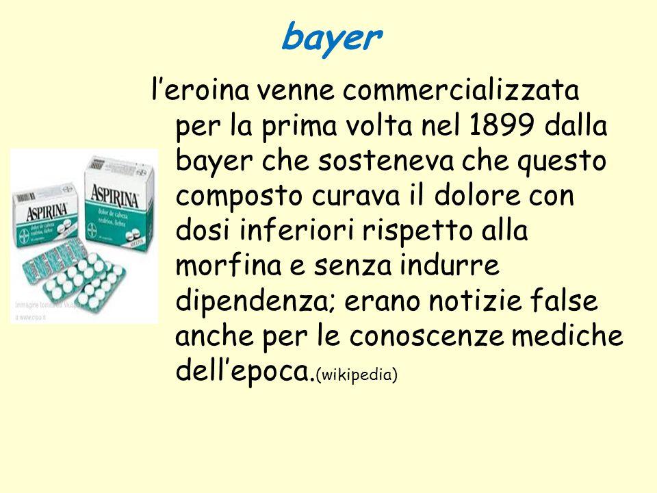 bayer l'eroina venne commercializzata per la prima volta nel 1899 dalla bayer che sosteneva che questo composto curava il dolore con dosi inferiori ri