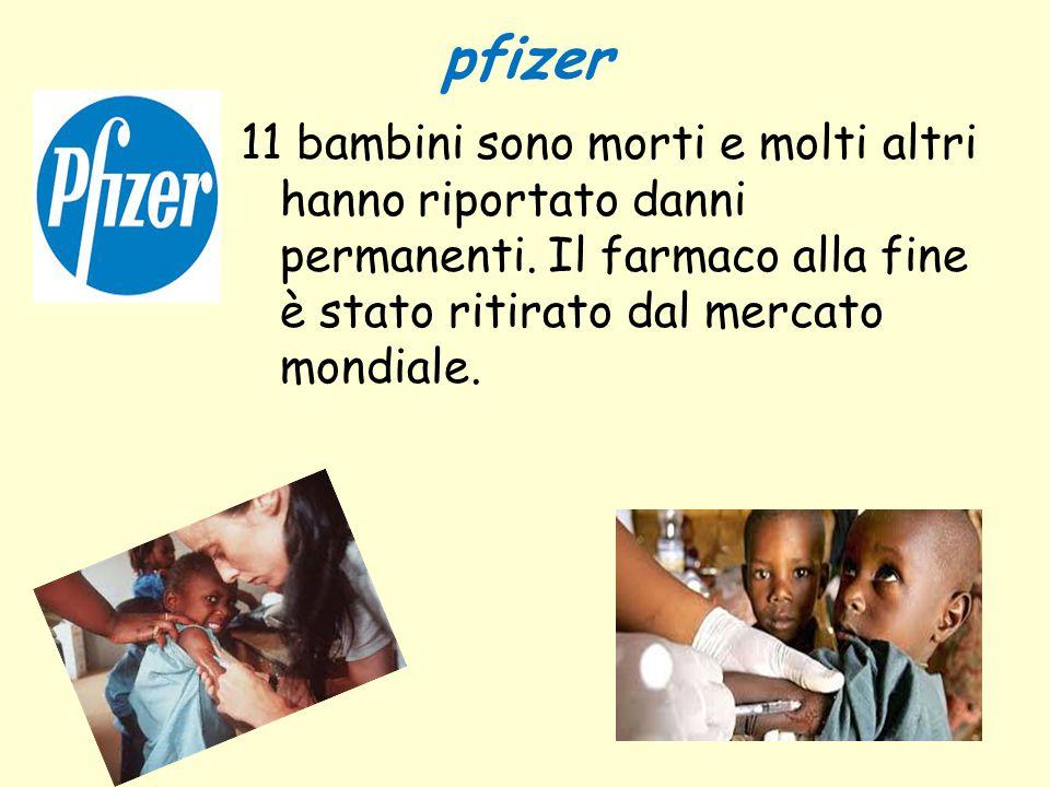 pfizer 11 bambini sono morti e molti altri hanno riportato danni permanenti. Il farmaco alla fine è stato ritirato dal mercato mondiale.