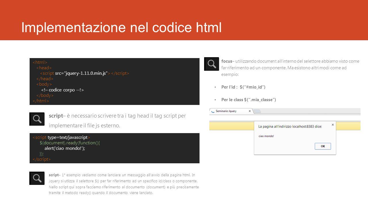 Implementazione nel codice html script– è necessario scrivere tra i tag head il tag script per implementare il file js esterno. $(document).ready(func