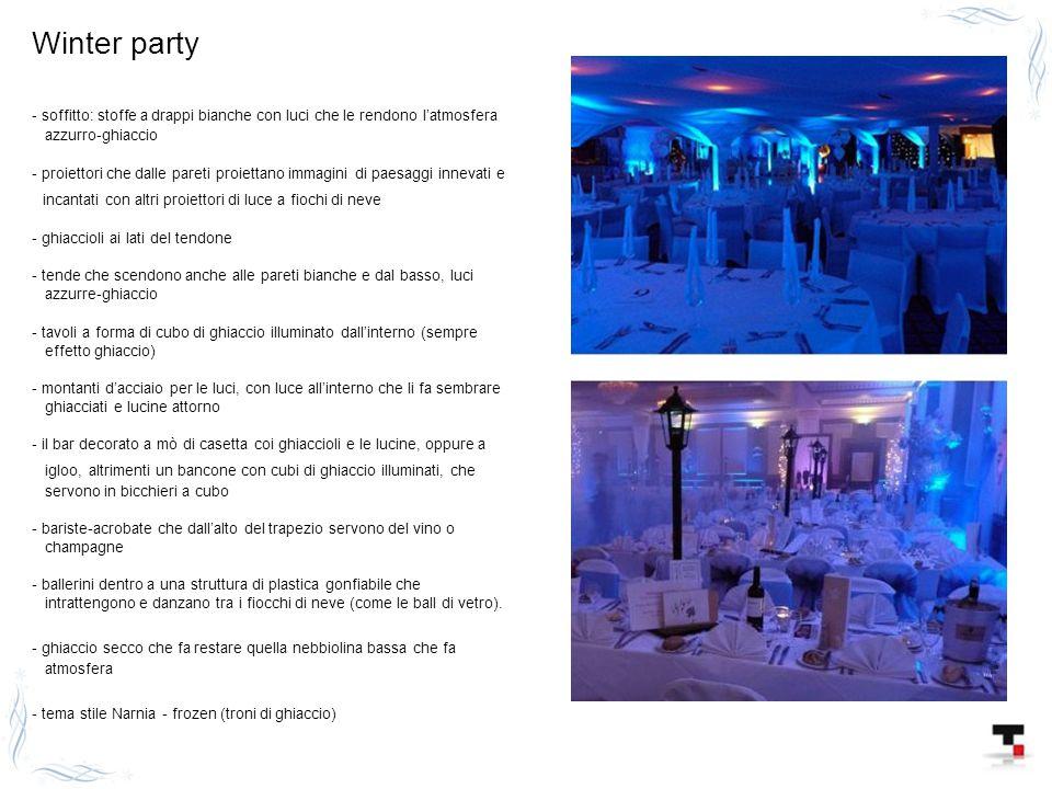 Winter party - soffitto: stoffe a drappi bianche con luci che le rendono l'atmosfera azzurro-ghiaccio - proiettori che dalle pareti proiettano immagin