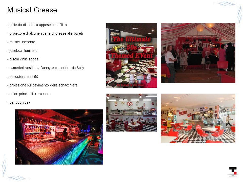 Musical Grease - palle da discoteca appese al soffitto - proiettore di alcune scene di grease alle pareti - musica inerente - jukebox illuminato - dis