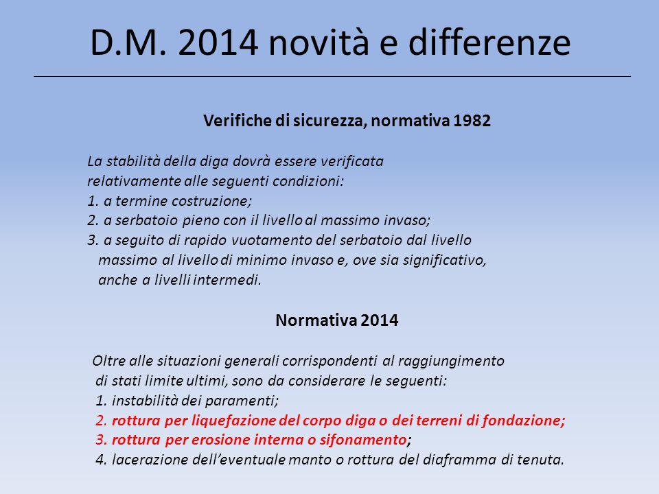 D.M. 2014 novità e differenze Normativa 2014 Oltre alle situazioni generali corrispondenti al raggiungimento di stati limite ultimi, sono da considera