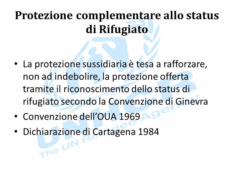Protezione complementare allo status di Rifugiato La protezione sussidiaria è tesa a rafforzare, non ad indebolire, la protezione offerta tramite il riconoscimento dello status di rifugiato secondo la Convenzione di Ginevra Convenzione dell'OUA 1969 Dichiarazione di Cartagena 1984 36
