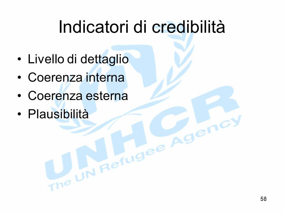 Indicatori di credibilità Livello di dettaglio Coerenza interna Coerenza esterna Plausibilità 58