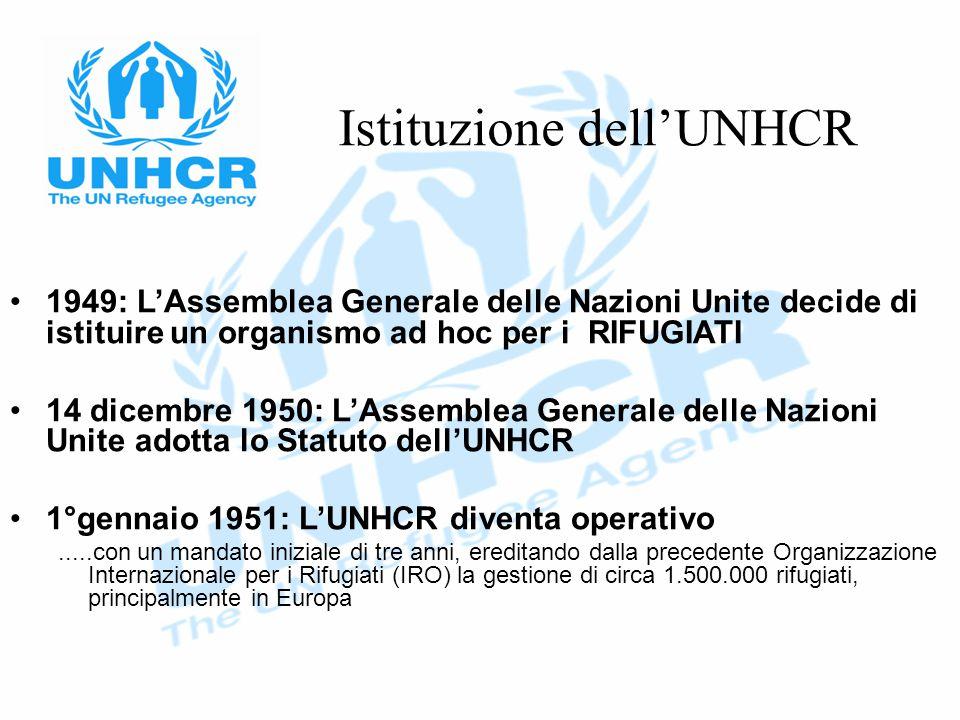Istituzione dell'UNHCR 1949: L'Assemblea Generale delle Nazioni Unite decide di istituire un organismo ad hoc per i RIFUGIATI 14 dicembre 1950: L'Assemblea Generale delle Nazioni Unite adotta lo Statuto dell'UNHCR 1°gennaio 1951: L'UNHCR diventa operativo.....con un mandato iniziale di tre anni, ereditando dalla precedente Organizzazione Internazionale per i Rifugiati (IRO) la gestione di circa 1.500.000 rifugiati, principalmente in Europa