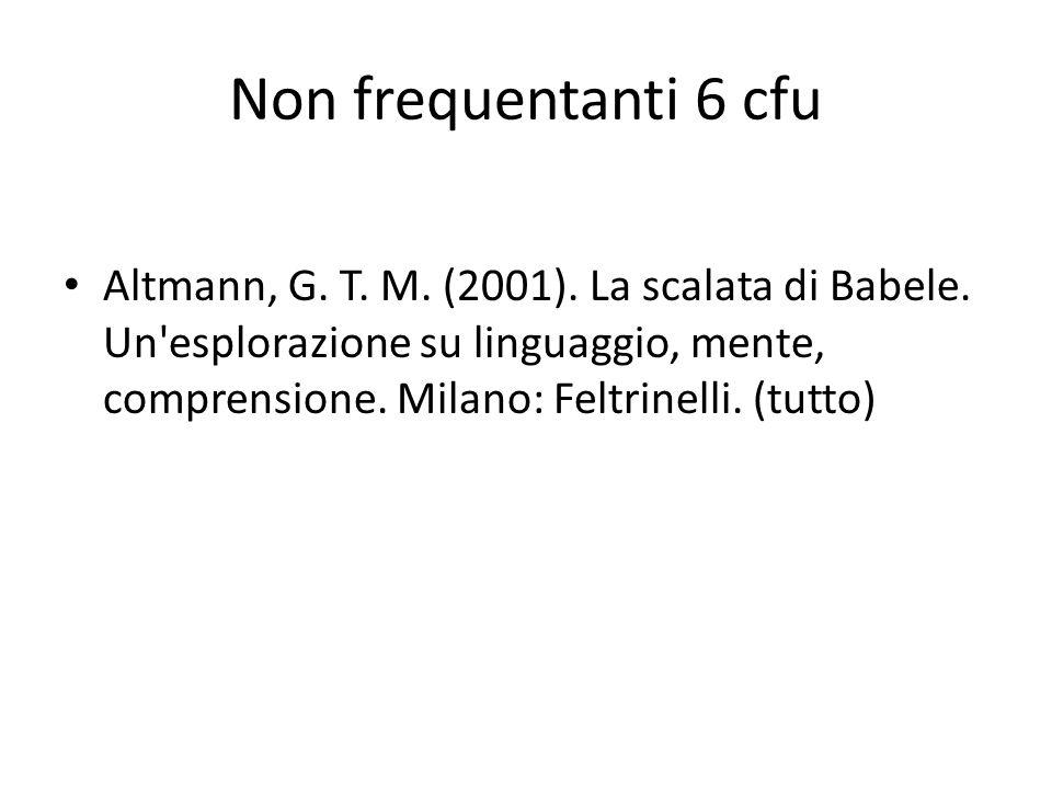 Non frequentanti 6 cfu Altmann, G. T. M. (2001). La scalata di Babele. Un'esplorazione su linguaggio, mente, comprensione. Milano: Feltrinelli. (tutto