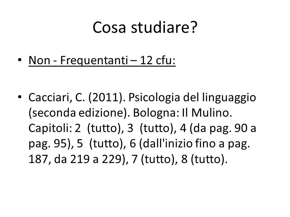 Cosa studiare? Non - Frequentanti – 12 cfu: Cacciari, C. (2011). Psicologia del linguaggio (seconda edizione). Bologna: Il Mulino. Capitoli: 2 (tutto)