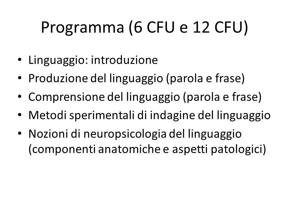 Programma (6 CFU e 12 CFU) Linguaggio: introduzione Produzione del linguaggio (parola e frase) Comprensione del linguaggio (parola e frase) Metodi spe