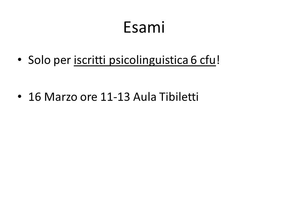 Esami Solo per iscritti psicolinguistica 6 cfu! 16 Marzo ore 11-13 Aula Tibiletti