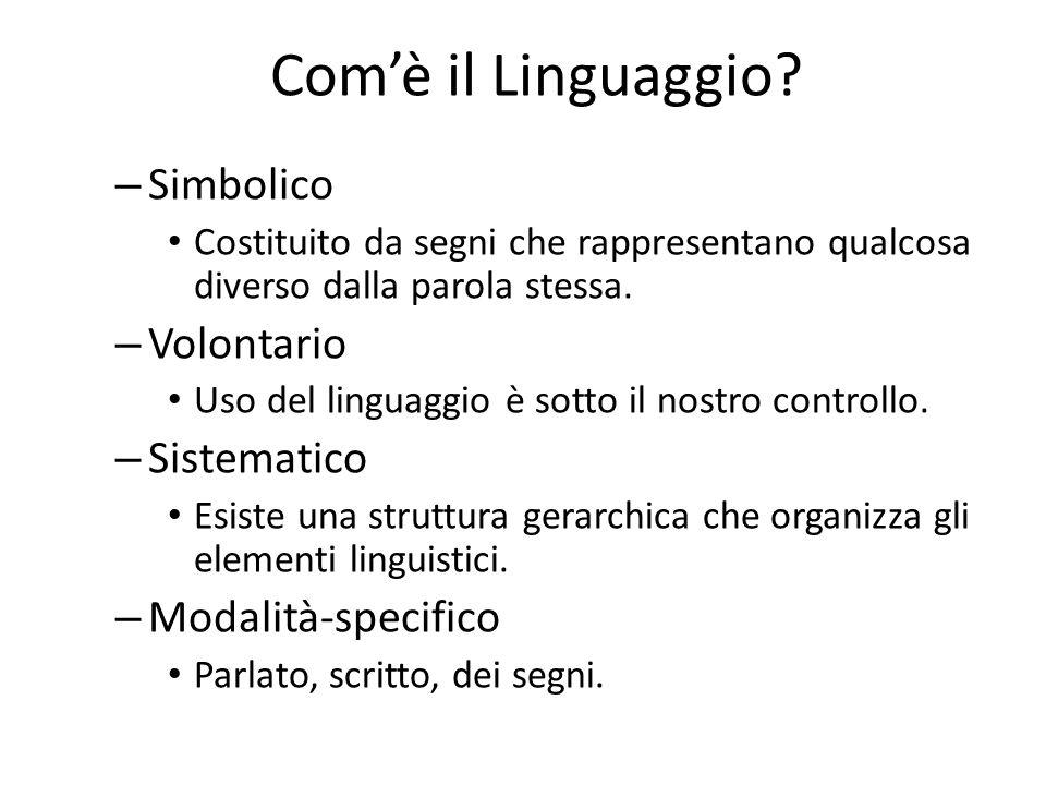 Com'è il Linguaggio? – Simbolico Costituito da segni che rappresentano qualcosa diverso dalla parola stessa. – Volontario Uso del linguaggio è sotto i