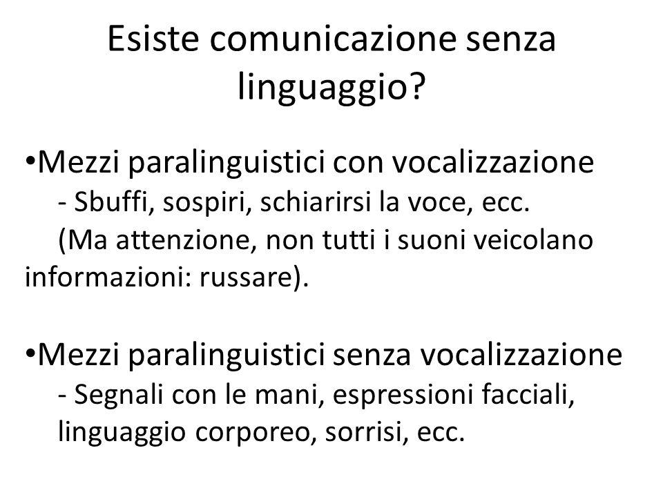 Esiste comunicazione senza linguaggio? Mezzi paralinguistici con vocalizzazione - Sbuffi, sospiri, schiarirsi la voce, ecc. (Ma attenzione, non tutti
