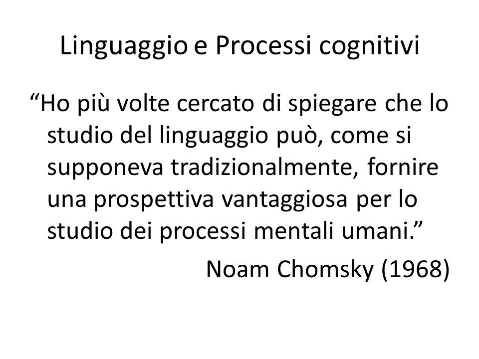 """Linguaggio e Processi cognitivi """"Ho più volte cercato di spiegare che lo studio del linguaggio può, come si supponeva tradizionalmente, fornire una pr"""