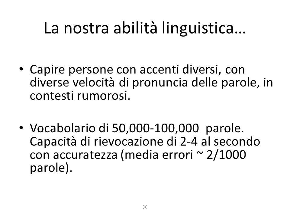 30 La nostra abilità linguistica… Capire persone con accenti diversi, con diverse velocità di pronuncia delle parole, in contesti rumorosi. Vocabolari