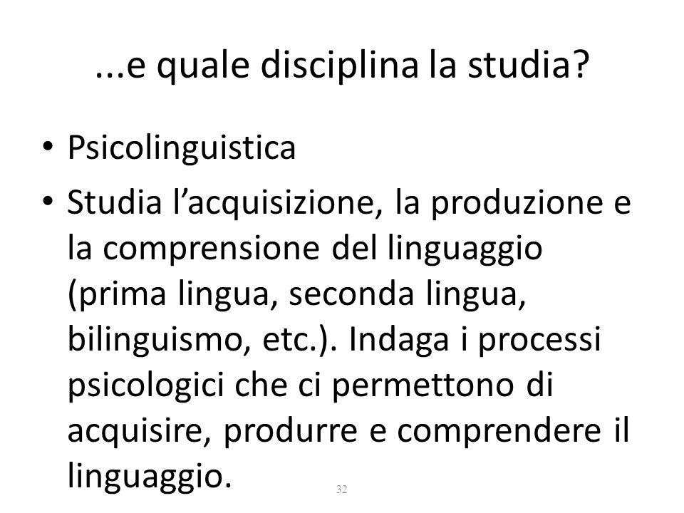 32...e quale disciplina la studia? Psicolinguistica Studia l'acquisizione, la produzione e la comprensione del linguaggio (prima lingua, seconda lingu