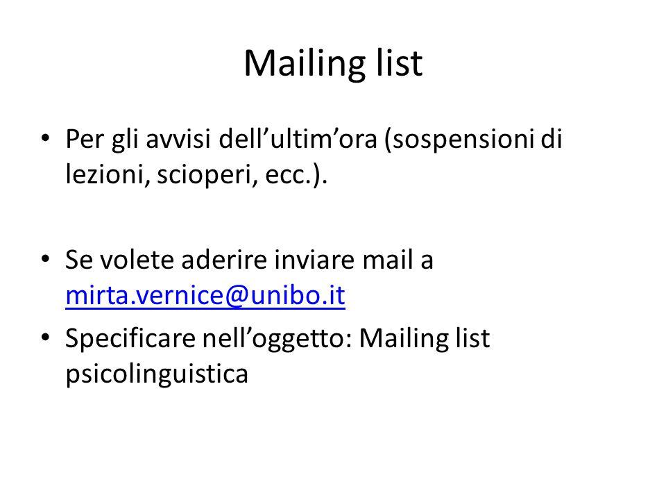 Mailing list Per gli avvisi dell'ultim'ora (sospensioni di lezioni, scioperi, ecc.). Se volete aderire inviare mail a mirta.vernice@unibo.it mirta.ver
