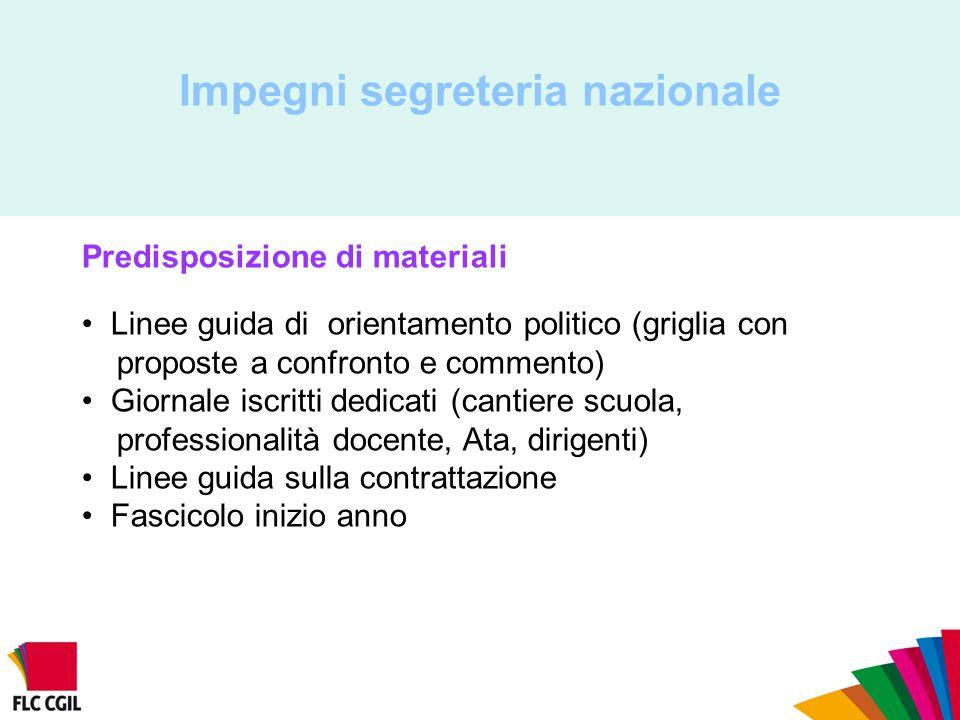 Impegni segreteria nazionale Predisposizione di materiali Linee guida di orientamento politico (griglia con proposte a confronto e commento) Giornale