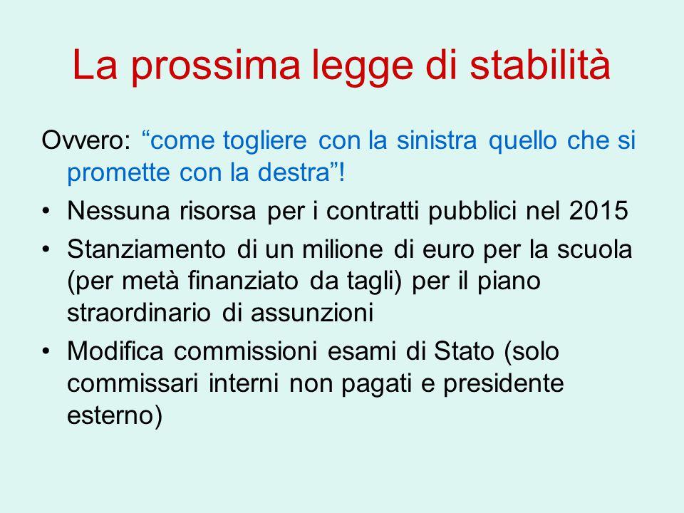 """La prossima legge di stabilità Ovvero: """"come togliere con la sinistra quello che si promette con la destra""""! Nessuna risorsa per i contratti pubblici"""