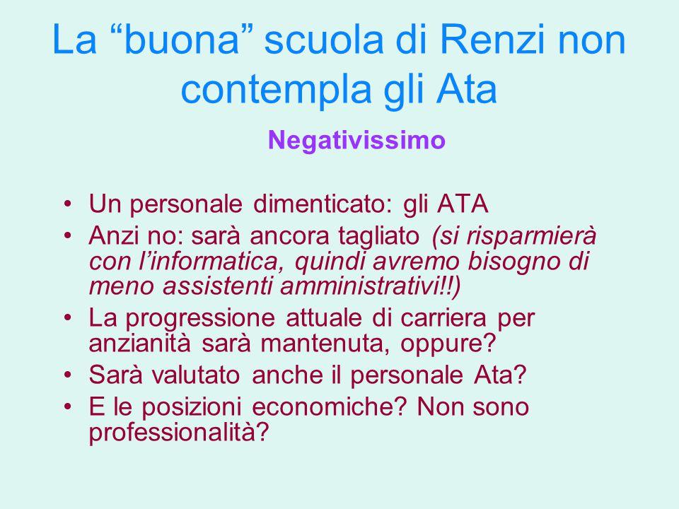 """La """"buona"""" scuola di Renzi non contempla gli Ata Negativissimo Un personale dimenticato: gli ATA Anzi no: sarà ancora tagliato (si risparmierà con l'i"""