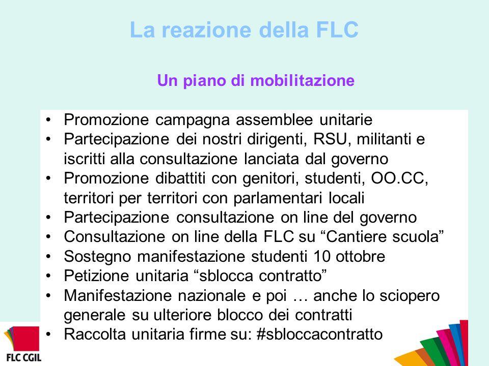 La reazione della FLC Un piano di mobilitazione Promozione campagna assemblee unitarie Partecipazione dei nostri dirigenti, RSU, militanti e iscritti
