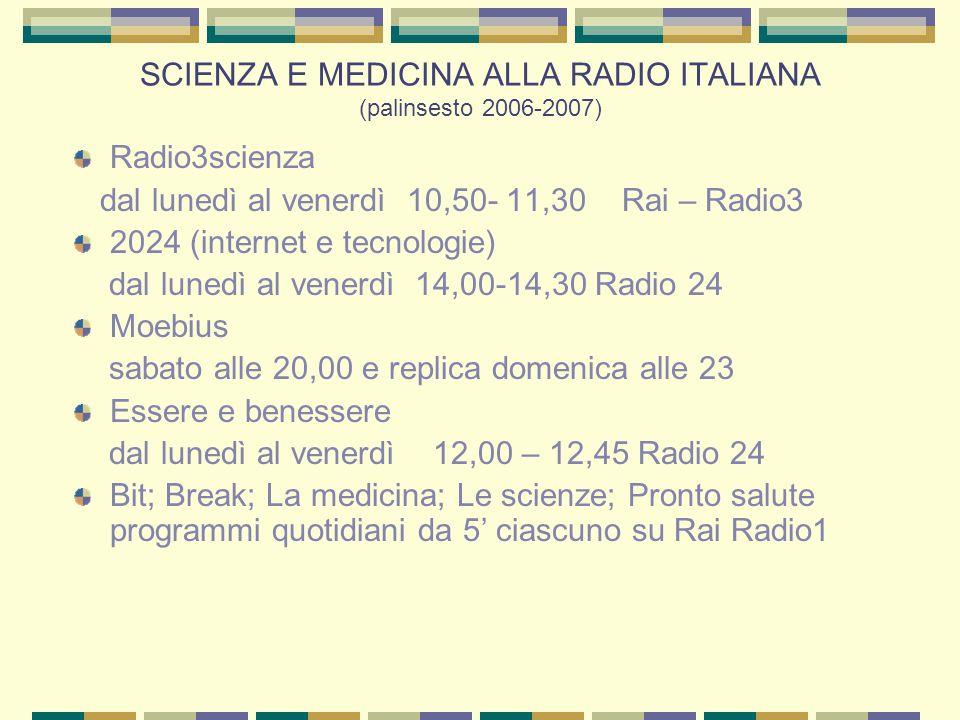 SCIENZA E MEDICINA ALLA RADIO ITALIANA (palinsesto 2006-2007) Radio3scienza dal lunedì al venerdì 10,50- 11,30 Rai – Radio3 2024 (internet e tecnologie) dal lunedì al venerdì 14,00-14,30 Radio 24 Moebius sabato alle 20,00 e replica domenica alle 23 Essere e benessere dal lunedì al venerdì 12,00 – 12,45 Radio 24 Bit; Break; La medicina; Le scienze; Pronto salute programmi quotidiani da 5' ciascuno su Rai Radio1