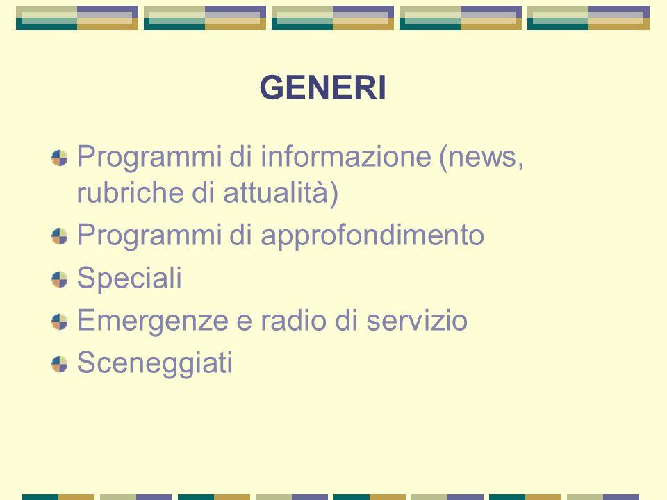 GENERI Programmi di informazione (news, rubriche di attualità) Programmi di approfondimento Speciali Emergenze e radio di servizio Sceneggiati