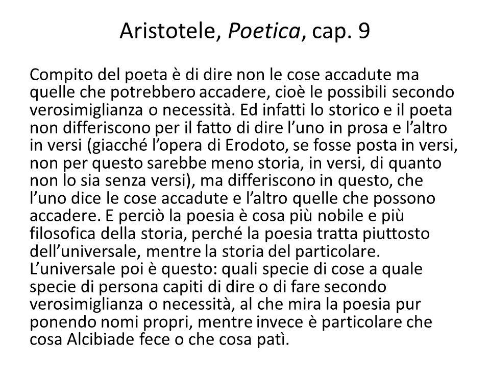 Aristotele, Poetica, cap. 9 Compito del poeta è di dire non le cose accadute ma quelle che potrebbero accadere, cioè le possibili secondo verosimiglia