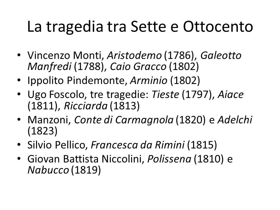 La tragedia tra Sette e Ottocento Vincenzo Monti, Aristodemo (1786), Galeotto Manfredi (1788), Caio Gracco (1802) Ippolito Pindemonte, Arminio (1802)