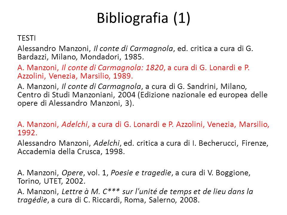 Bibliografia (1) TESTI Alessandro Manzoni, Il conte di Carmagnola, ed. critica a cura di G. Bardazzi, Milano, Mondadori, 1985. A. Manzoni, Il conte di