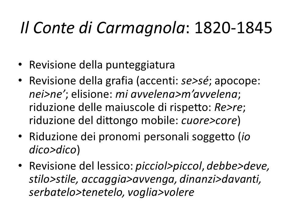 Il Conte di Carmagnola: 1820-1845 Revisione della punteggiatura Revisione della grafia (accenti: se>sé; apocope: nei>ne'; elisione: mi avvelena>m'avve