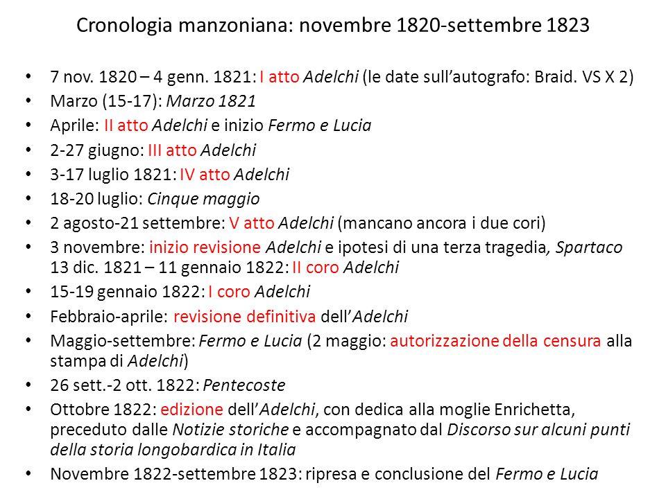 Cronologia manzoniana: novembre 1820-settembre 1823 7 nov. 1820 – 4 genn. 1821: I atto Adelchi (le date sull'autografo: Braid. VS X 2) Marzo (15-17):