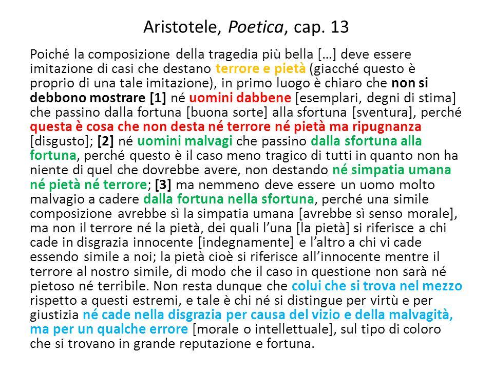 Aristotele, Poetica, cap. 13 Poiché la composizione della tragedia più bella […] deve essere imitazione di casi che destano terrore e pietà (giacché q