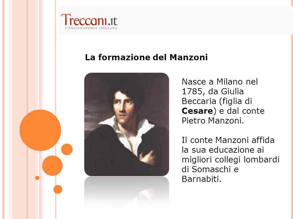 Nasce a Milano nel 1785, da Giulia Beccaria (figlia di Cesare) e dal conte Pietro Manzoni. Il conte Manzoni affida la sua educazione ai migliori colle