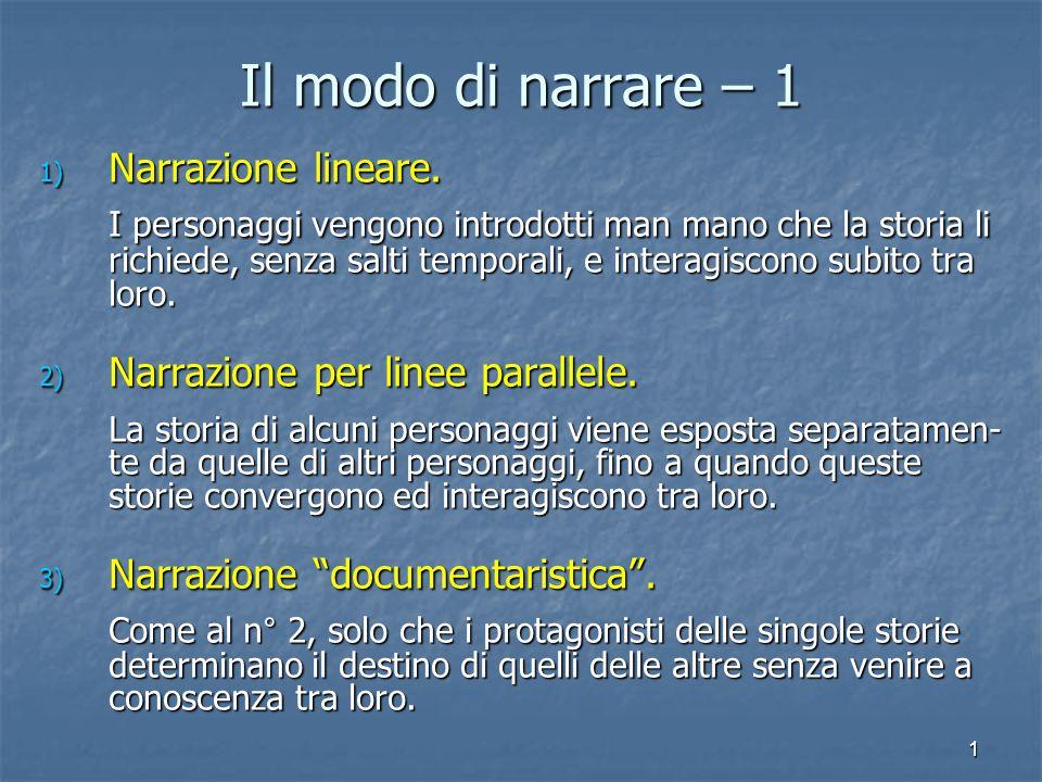 1 Il modo di narrare – 1 1) Narrazione lineare. I personaggi vengono introdotti man mano che la storia li richiede, senza salti temporali, e interagis