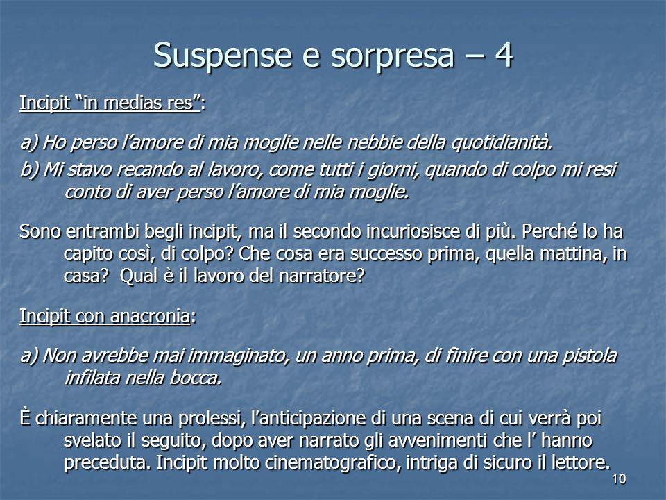 """10 Suspense e sorpresa – 4 Incipit """"in medias res"""": a) Ho perso l'amore di mia moglie nelle nebbie della quotidianità. b) Mi stavo recando al lavoro,"""