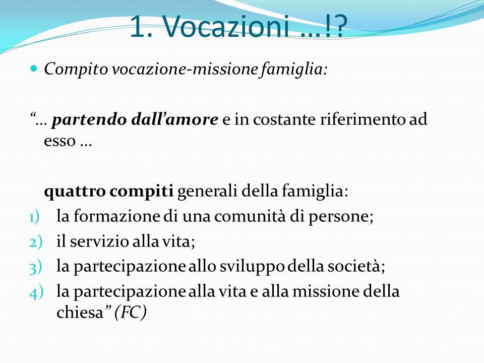 """Compito vocazione-missione famiglia: """"… partendo dall'amore e in costante riferimento ad esso … quattro compiti generali della famiglia: 1) la formazi"""