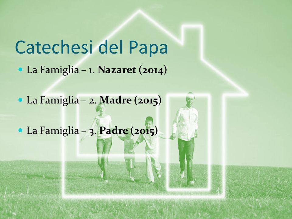 Catechesi del Papa La Famiglia – 1. Nazaret (2014) La Famiglia – 2. Madre (2015) La Famiglia – 3. Padre (2015)