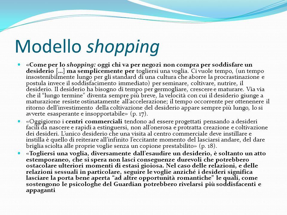 Modello shopping «Come per lo shopping: oggi chi va per negozi non compra per soddisfare un desiderio […] ma semplicemente per togliersi una voglia. C