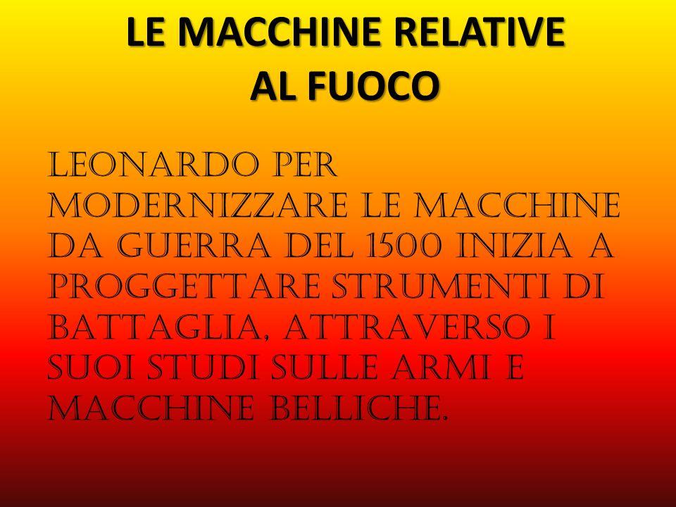 LEMACCHINERELATIVE ALFUOCO LE MACCHINE RELATIVE AL FUOCO LEONARDO PER MODERNIZZARE LE MACCHINE DA GUERRA DEL 1500 INIZIA A PROGGETTARE STRUMENTI DI BATTAGLIA, ATTRAVERSO I SUOI STUDI SULLE ARMI E MACCHINE BELLICHE.