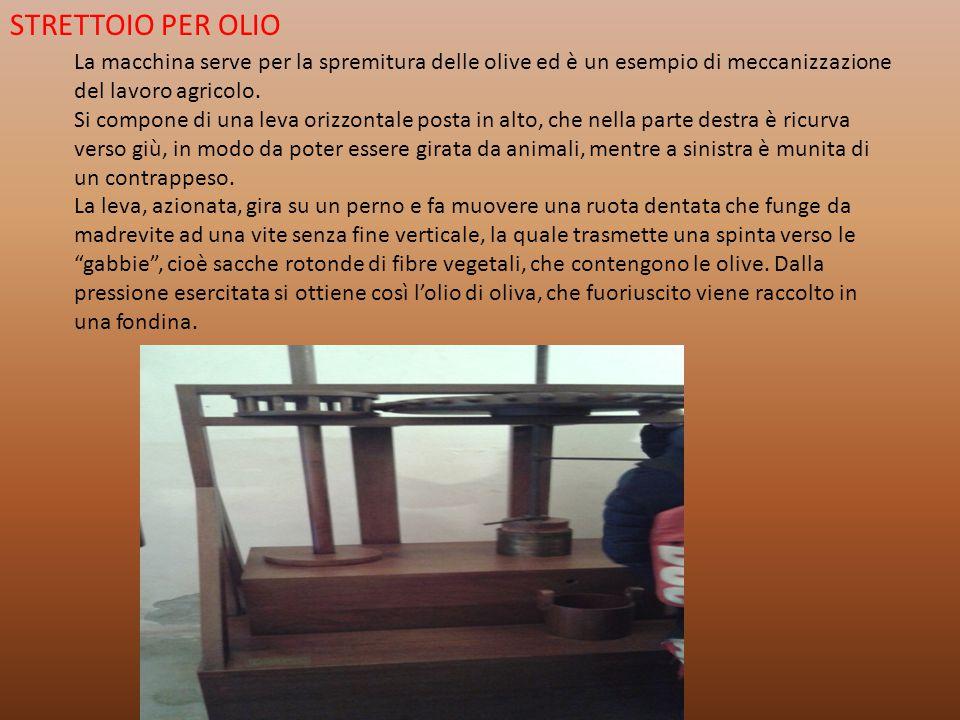 STRETTOIO PER OLIO La macchina serve per la spremitura delle olive ed è un esempio di meccanizzazione del lavoro agricolo. Si compone di una leva oriz