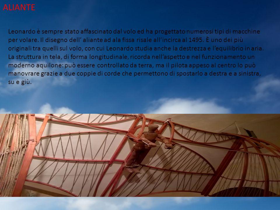 ALIANTE Leonardo è sempre stato affascinato dal volo ed ha progettato numerosi tipi di macchine per volare. Il disegno dell' aliante ad ala fissa risa