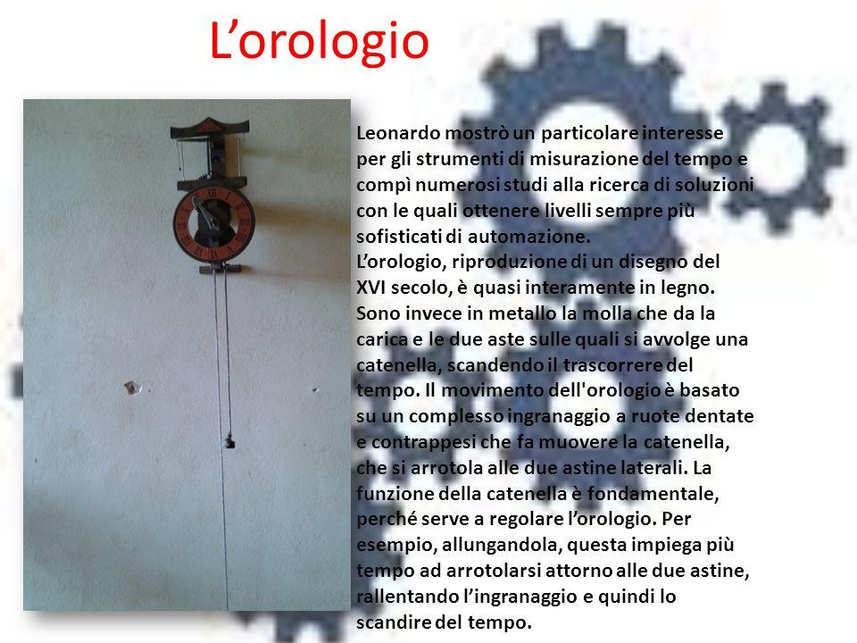 L'orologio Leonardo mostrò un particolare interesse per gli strumenti di misurazione del tempo e compì numerosi studi alla ricerca di soluzioni con le