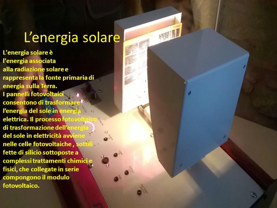 L'energia solare L'energia solare è l'energia associata alla radiazione solare e rappresenta la fonte primaria di energia sulla Terra. I pannelli foto